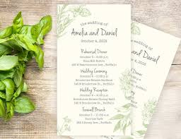 wedding ceremony card herb garden wedding itineraries 25 wedding schedule cards