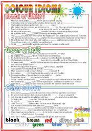 english teaching worksheets colour idioms