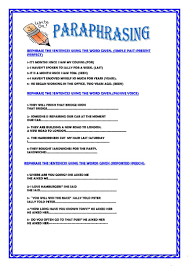 Coordinating And Subordinating Conjunctions Worksheets 9 Free Esl Paraphrasing Worksheets