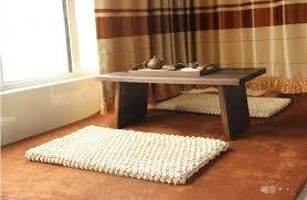 modern rustic rectangular floor cushion beige natural straw mat
