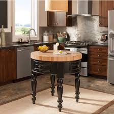 jeffrey alexander round petite kitchen island with butcher block