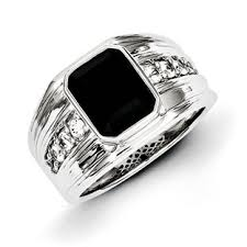 mens silver rings men s black onyx white sapphire sterling silver ring jewelry