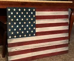 rustic wood american flag wall hanging for indoor or outdoor use