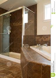 large shower in master bath room stock photo image 38893332
