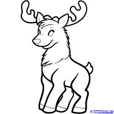 realistic cartoon reindeer face free printable reindeer coloring