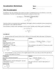 acceleration worksheet acceleration worksheet name date 14 2