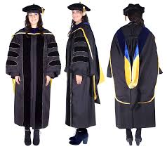 graduation robe premium black complete doctoral regalia graduate degree and school