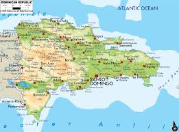 Physical Map Of North America by Large Physical Map Of Dominican Republic With Roads Cities And