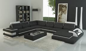 canapé panoramique 7 places deco in canape panoramique cuir noir et blanc design avec