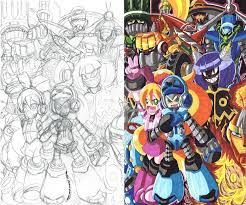 mighty no 9 fan art sketch and color 01 by d13mon studios on