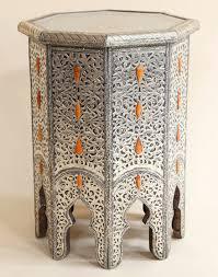 white metal bone encrusted moroccan side table moroccan bazaar