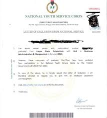 diploma samples certificates nysc exemption and exclusion with their sample certificates letter