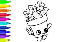 how to draw cute flower pot coloring pages for kids colours