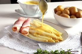 cuisine hollandaise white asparagus with sauce hollandaise and ham german recipe
