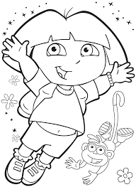 dora coloring pages for kids happy with boots cartoon coloring