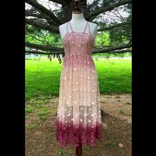 free people pink ombre embroidered mesh maxi dress nwt