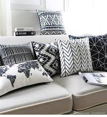 black and white cushion covers geometric triangles stripe world