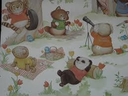 vintage 80s shirt tales wallpaper roll hallmark animals wall