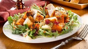 thanksgiving harvest salad with turkey n cranberries wish bone