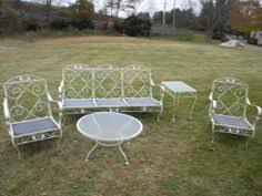 Antique Wrought Iron Patio Furniture by 1967 Meadowcraft Meadow Rose Ornamental Iron Patio Furniture 1960s