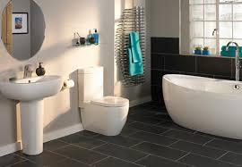 Modern Bathroom Floor Walls Interiors Modern Bathroom With Black Slate Floor Tiles And
