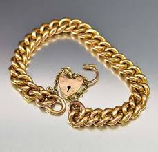 gold chain heart bracelet images Antique rose gold heart padlock curb chain bracelet boylerpf jpg