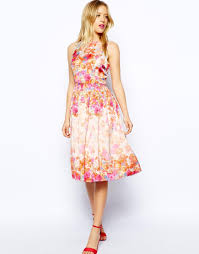 asos floral prom dress in pink lyst