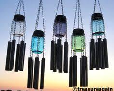 Upcycled Garden Decor Mason Jar Windchime Color Choice Of Solar Jar Upcycled Outdoor