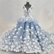 dusty wedding dress fantastic gown illusion neckline dusty blue organza lace