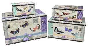 Home Decor Boxes Wooden Garden Style Butterfly Decorative Storage Boxes Set Of 4