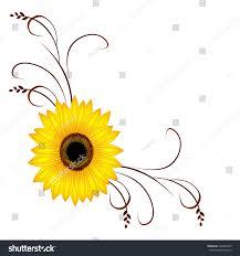 corner ornament sunflower stock vector 424080235