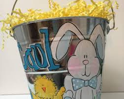 painted easter buckets basket etsy