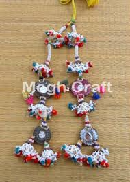 gujarati earrings kutch traditional mirror pom pom tassels work pearl beaded waist