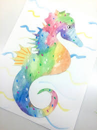 eric carle inspired watercolor seahorse collage