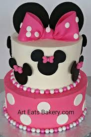 best 25 minnie mouse birthday cakes ideas on pinterest mini two tier pink and white buttercream minnie mouse birthday cake with fondant ears and polka dot