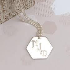 Initials Necklace Men U0027s Personalised Sterling Silver Hexagon Initials Necklace
