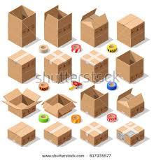 isometric flat cardboard carton box pack stock vector 339335450