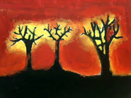 the helpful art teacher paint the sky silhouettes and sunsets