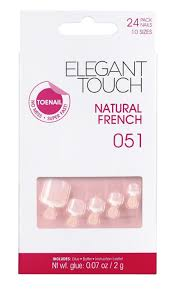 elegant touch false acrylic toe nails french bare or natural