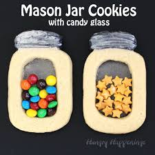 jar cookies with glass and sprinkles