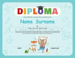 preschool kids diploma certificate background design template with