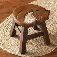 wood fox stool