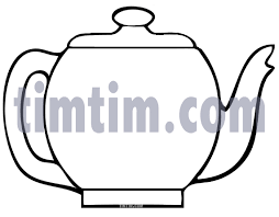 free drawing of a teapot blank bw from the category cooking food