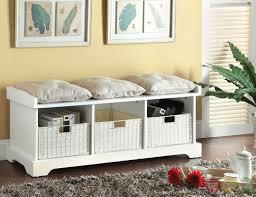 Cushioned Storage Bench White Storage Bench With Cushion Entryway Build White Storage