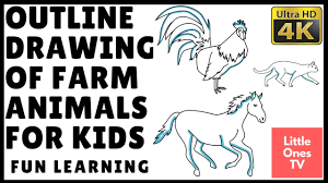outline drawing of farm animals for kids youtube