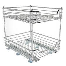 2 tier cabinet organizer design trend glidez 2 tier sliding under cabinet organizer 14 5