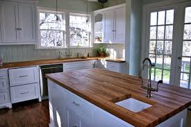 countertops farmhouse kitchen design white cabinets butcher block