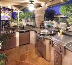 prefabricated outdoor kitchen islands combined with grey wicker l shaped prefabricated outdoor kitchen islands in concrete gazebo with fan