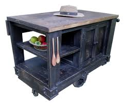 distressed island kitchen kitchen cart wes dalgo distressed black modern rustic kitchen