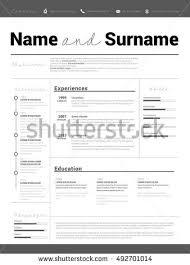 Curriculum Vitae Resume Samples by Minimalist Cv Resume Template Simple Design Stock Vector 482968711